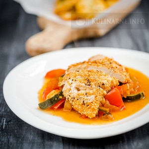 Kurczak w amarantusie na ratatouille